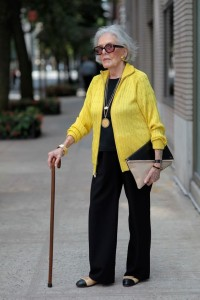 mature woman with cane